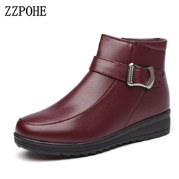 Wholesale Wedges Boots Open Toe - ZZPOHE Women Flat Boots 2017 Winter Fashion PU Leather Mother Boots Women's Casual Ankle Wedges Snow Women Shoes