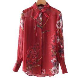 Wholesale Woman Flower Print Shirt Vintage - Vintage Semi transparent Flower Print Chiffon Silk Shirt Red 2018 Woman Bow Lapel Long Sleeve Blouse Femme Blusas Top