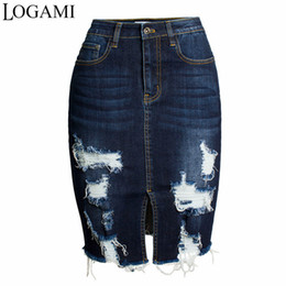 979c365f44 LOGAMI Ripped Bodycon Denim Skirts Womens Sexy Midi Pencil Skirt Ladies  Wrap Jeans Skirt