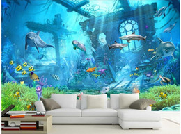 woods country decor Promo Codes - 3d wallpaper custom photo Underwater world remnants of dolphins TV background living room Home decor 3d wall murals wallpaper for walls 3 d