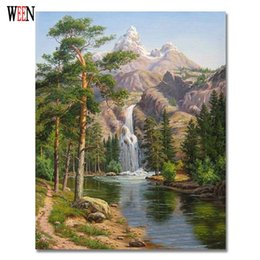 Wholesale Cm Pictures - Wholesale-WEEN Stone Pines Pictures Oil Painting By Number On Canvas DIY Landscape Digital Coloring By Number 40 x 50 cm 2017 New Gift