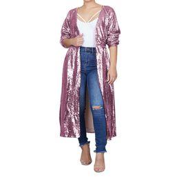 Плащиковые плащи онлайн-Мода Блесток Пальто Для Женщин Ветровка Осень Зима 2018 Длинный Кардиган Кимоно Женщин Elegante Топы И Блузки