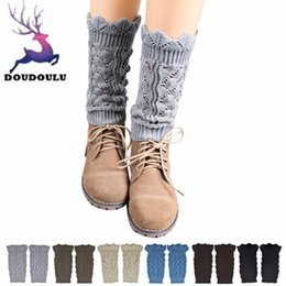 Wholesale Wholesale Hollow Knee Boots - DOUDOULU Womens Socks Thermal Winter Hollow Out Leg Warmers Socks Boot Cover #ZH