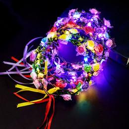 ha portato la luce artificiale del fiore Sconti Hawaii Girls Women Light Up Fascia Garland Corona artificiale LED Flowers Dress Glow Light Decorazione di cerimonia nuziale del partito