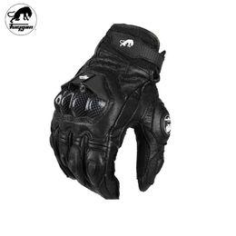 Wholesale black leather gear - Furygan AFS6 Leather Motorcycle gloves Luva Motoqueiro Guantes Moto Motocicleta Luvas de moto Motocross glove Protective Gears Professional