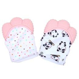 2019 luvas de panda 2018 hot food grade gel de silicone bebê bonito panda luva molar evitar morder doces envoltório som mordedor desconto luvas de panda