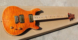 Wholesale Quilted Maple Top Guitar - Wholesale High Quality bird fretboard Custom 22 Orange Yellow Burst Quilted Top Maple Electric Guitar Free Shipping