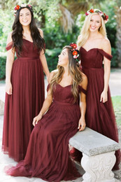 Wholesale Wedding Dresses Off Shoulder Style - 2018 Burgundy Bridesmaid Dresses Country Style Off Shoulder Beach Wedding Party Guest Dresses Maid of Honor Dress Cheap MUMU Tulle Long