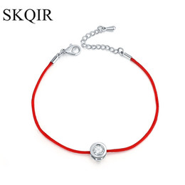 Wholesale Thread For Bracelets Wholesale - whole saleSKQIR Fashion Women Thin Red Cord Thread String Rope Chain with CZ Zirconia Silver Color Bracelet for Female Jewelry pulseras
