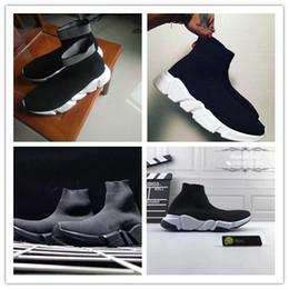 Wholesale mens elite socks - HOTSALE WITH BOX 2018 Luxury Paris Speed Trainer Stretch Knit Sock Women Men mens socks Designer Running Brand Shoes Sneakers elite socks 36