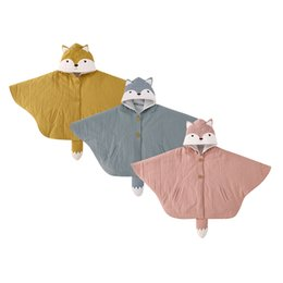Wholesale fox coat kids - Pureborn Baby Girls Hoodies Cloak Coat Toddler Kids Cotton Cape Poncho Cloak Outerwear Cute Fox With Tail Poncho Jacket Clothing