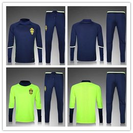Wholesale Jackets Men Sweden - top thai quality 16 17 blue Sweden jacket Training suit kits green soccer Jersey 2017 IBRAHIMOVIC KALLSTROM football shirts