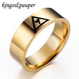 Wholesale Kpop Rings - whole saleStainless Steel Fashion Men Women Mason Freemason Jewelry Free Mason Freemasonry Masonic Triangle Kpop Charms Ring Birthday Gift