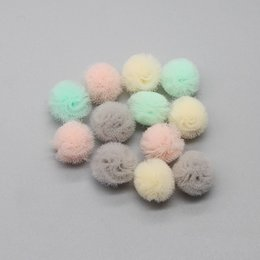 tulle flower puffs Promo Codes - Mini Tulle Mesh Puff Hair Flower Artificial Fabric Flowers Manual Diy Hair Ornament Accessories Children Net Elastic Ball 0 15ze gg