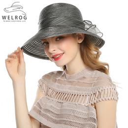 WELROG Sombreros de las mujeres elegantes de la manera para las mujeres  Sombrero de la flor grande del arco Sombrero de la protección del sol del  verano ... f9d52b6168c4
