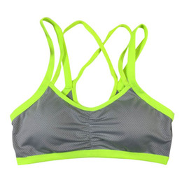 Wholesale bra shoulder belt - Sexy Women Breathable Sports Bra Running Gym Fitness Double Shoulder Belt Push Up Seamless Padded Wirefree Shakeproof Vest Tops