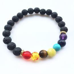 Wholesale 8mm red beads - Black Lava Rock 8mm Beads 7 Chakra Healing Balance Bracelet for Men Women Reiki Prayer Stone Yoga Chakra Bracelet Drop Shipping