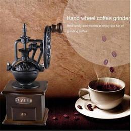 Ruedas de metal vintage online-Molinillo de café manual de la vendimia Molino de café de la máquina del molino de grano del diseño de la rueda