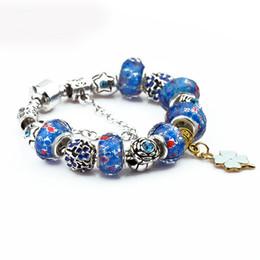 Wholesale Teen Bracelets - Charm Bracelet Fashion Sliver Plated Blue Glass Crystal Beads Charm Bangle Bracelet for Teen Girls Free Shipping D625S