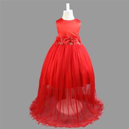 Wholesale elegant baby bows - Kids Clothing Children Girls Dresses Elegant Flower Lace Long Dress Big Bow Round Neck Baby Girl Gown B11