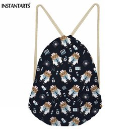d07951eb1f75 INSTANTARTS High Quality Drawstring Bag Nurse Bear Printed String Sack  Beach Women Men Travel Storage Package Teenagers Backpack