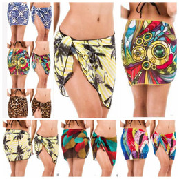 Wholesale Cover Up Wrap Skirts - Bikini Cover Ups Women Sexy Beach Dress Summer Tropical Skirts Paisley Holiday Beach Wraps Vacation Seaside Chiffon Swimwear Beachwear B3741