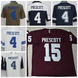 Wholesale Mens Shirt Red - Mississippi State Bulldogs Dak Prescott College Football Jerseys 15 Dak Prescott Red Stitched Jerseys Mens Shirts Classic Current