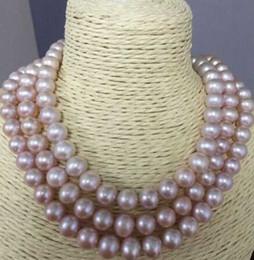 """Triple rangée de perles des mers du sud en Ligne-triple brins 9-10mm mer de mer ronde lavande collier de perles 18 """"19"""" 20 """"14k"""