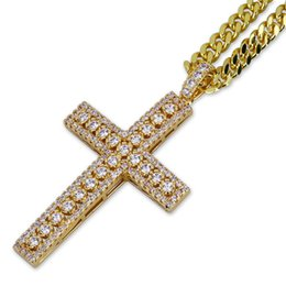 Wholesale Mens Cross Necklace Silver - Rhinestone Cross Cuban Links Hip Hop Jewelry Designer Jewelry Sliver Choker Gold Diamond Chain Iced Out Chains Mens Necklace Mens Chain