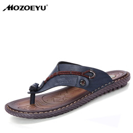 Wholesale trendy slip shoes - MOZOEYU 2017 New Summer Sewing Style Men's Sandals Fashion Flip Flops With Soft Sole Trendy Flat Breathable Men Big Size Shoes