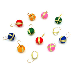 ball candle colorful Promo Codes - Hot Sale 12Pcs Lot 3cm Colorful Glitter Christmas Balls Ornament Hanging Baubles Decoration For Christmas Party Decoration