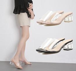 Flip flops in plastica online-Marca 2018 Nuove donne di plastica Sandali Tacchi spessi Sandali di cristallo Flip flops femminile Summer Party Shoe Open Toe per le donne 1NX17