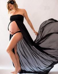 Wholesale Maxi Chiffon Maternity Dress - 2018 New Style Hot Sale Maternity Chiffon Gown Split Front Maxi Photography Pregnancy Dress for Photo Shoot