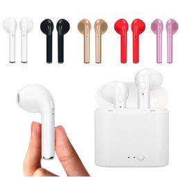 черные головные наушники Скидка I7 I7S TWS Близнецы Bluetooth наушники мини беспроводные наушники гарнитура с микрофоном стерео V4.2 наушников для Iphone Android с розничной упаковке
