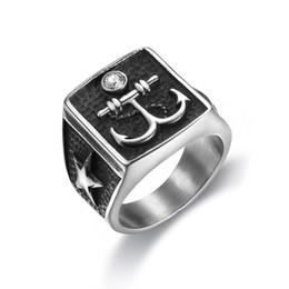 Âncora de anéis on-line-Punk Aço Inoxidável 316L Design Personalidade Âncora de Design Geométrico com Estrelas Anéis de Dedo para Os Homens Anéis Jóias