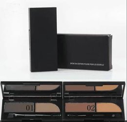 Wholesale Brow Shader - Free Shipping New Makeup Eyes 2 Colour Brow Powder Eyebrow Powder Brow Shader Palette 3g Will Brush