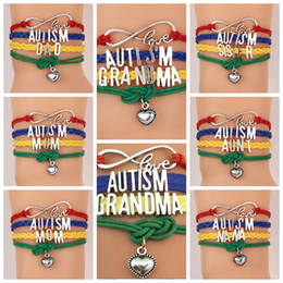 Wholesale Wholesale Dad Gifts - Love AUTISM jewelry bracelet Heart Charm bracelets braid wristband kids friendship gifts Mom Dad aunt Nana Sister