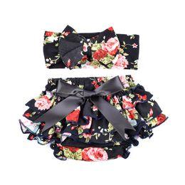 newborn baby girl gift sets NZ - Wholesale Baby Girl Tutu Skirt Shorts and Flower Print Headband Sets Newborn Photography Props Baby Birthday Christmas Gift