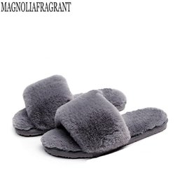 65963012d Fluffy Fur Women Slippers Fashion Slides Women Plush Winter Shoes Casual  Shoes Flats Home slippers Chaussure Femme k307