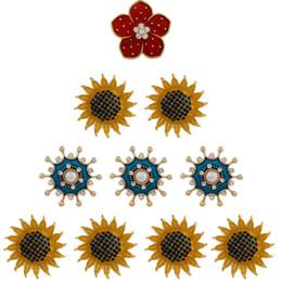 diy red girasoles Promotion 2018 nouveaux bijoux New SunFlower rouge fleur Snap Button bijoux Fit 18mm / 20mm DIY Snap Bracelet boutons en pierre de strass