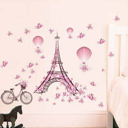Wholesale Wall Stickers Paris - Wholesale DIY Paris Tower Pink Cute Butterflies Art Decor Home Bedroom Living Room Background Waterproof Wall Stickers Wallpaper 39x26""