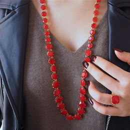 Wholesale crystal glass faceted stones - 2018 Amybaby Red Stone Faceted Glass Crystal Womens Long Necklace Jewelry For Party