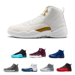 Mens economici 12 scarpe da basket Bordeaux grigio scuro lana bianca Flu Gioco UNC Gym rosso gamma gamma francese blu camoscio sneaker US8-13 cheap taxis shoes da scarpe da tassì fornitori