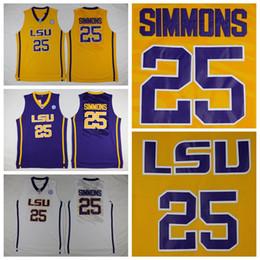 Wholesale ben shirt - Top Quality LSU Tigers #25 Ben Simmons Jersey Yellow Purple White Men's Ben Simmons College Basketball Jerseys Shirts Stitched Logos