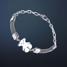 Wholesale Strand Link - TL Unique Designer Love Brand Stainless Steel Bear Bracelet Charm Animal Link Chain Bracelet For Women gift