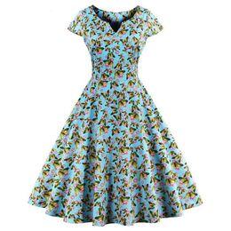 robe à manches papillon vintage Promotion Mode Femmes D'été Vintage Robe À Manches Courtes Papillon Imprimer V-Neck Retro Swing Dress Plus La Taille M-4XL