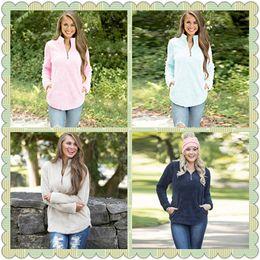 Wholesale Oversized Winter Sweater - 4 Colors Sherpa Pullover Women Winter Hoodie Fall Fleece Sweatshirt Oversized V-Neck Zipper Sweaters Long Sleeve Tops CCA8906 10pcs