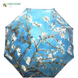 Wholesale Green Abstract Painting - LIKE RAIN 2017 New Abstract Oil Painting Arts Umbrella Creative Van Gogh Apricot Flowers Umbrella Rain Women Parasol YHS08