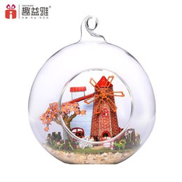 Wholesale Mini House Kits - 2018 New 3D DIY Doll House Wooden Dutch windmill Mini Glass Cover Ball Model Building Kits Miniature Toys For Children lover