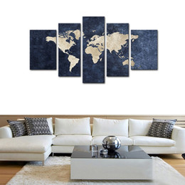 Shop world map art decor uk world map art decor free delivery to 5 panels canvas wall art blue map painting world map with mazarine background picture print on canvas giclee artwork wall art for home decor gumiabroncs Gallery